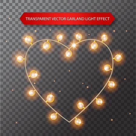 Lights bulbs isolated on transparent background. Glowing golden heart-shaped garlands Illusztráció