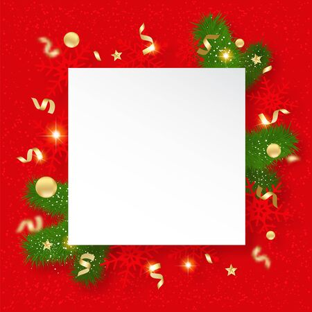 Christmas sale banner. Background with shining snowflakes, brunches and stars. New year and Christmas card illustration on red background.