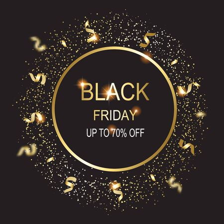 Black friday  sale banner. Background with shining   serpentineû and stars. New year and Christmas card illustration on black background. Illusztráció