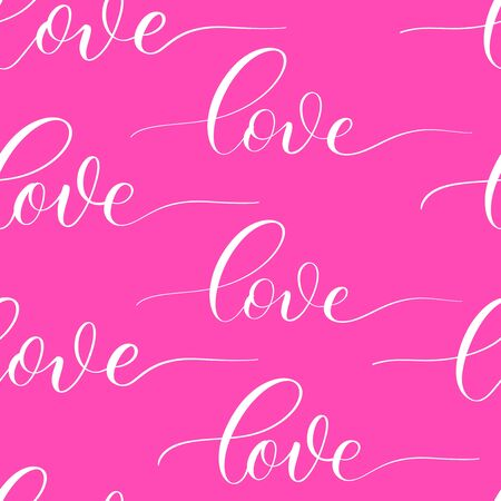 Pink background with calligraphy inscription Love.