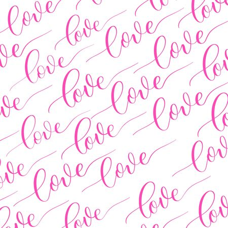 White background with pink calligraphy inscription Love.