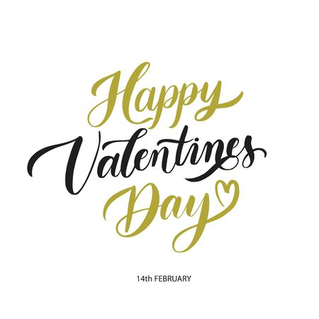 Happy Valentines Day  background with lettering. Holiday card illustration on white background. Illusztráció