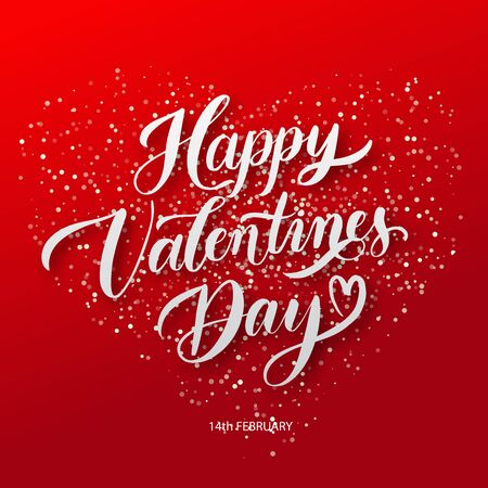 Happy Valentines Day  background with lettering. Holiday card illustration on red background.