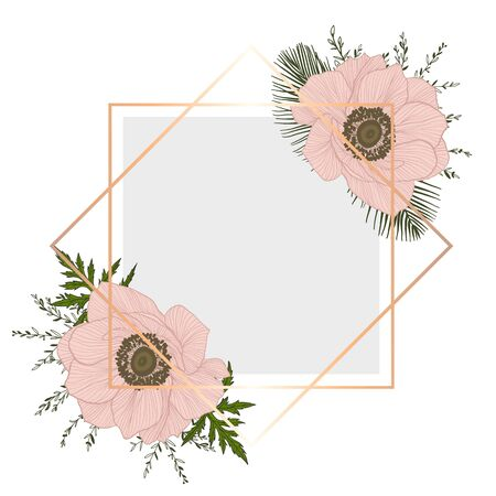 Vintage frame with flowers. Card with pink anemones and green brunches.
