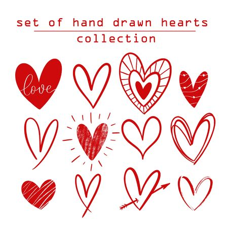 Set of Hand drawn hearts collection