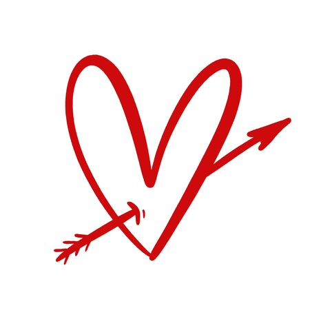 Hand drawn grunge red heart Illusztráció