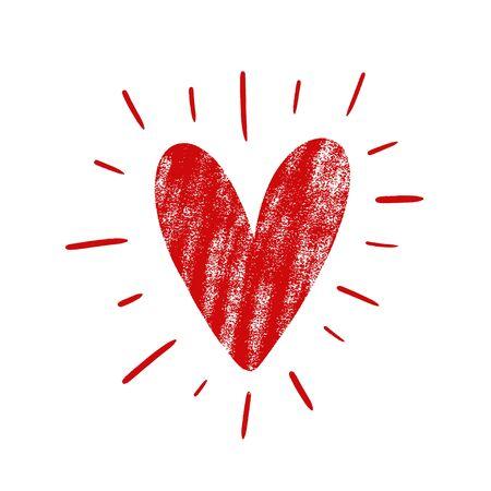 Hand drawn grunge red heart. Illusztráció