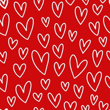 White hearts on red background seamless pattern.
