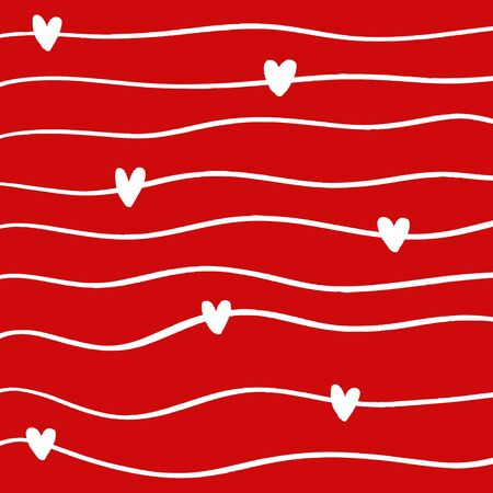 White wave with hearts on red background seamless pattern.