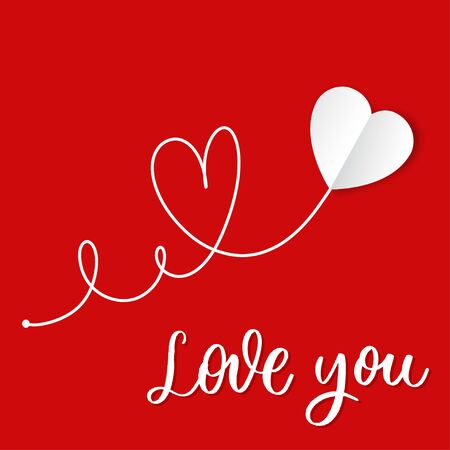 love you. Hand drawn white paper heart with lettering.