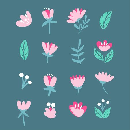 Collection of Spring pink flowers vector.