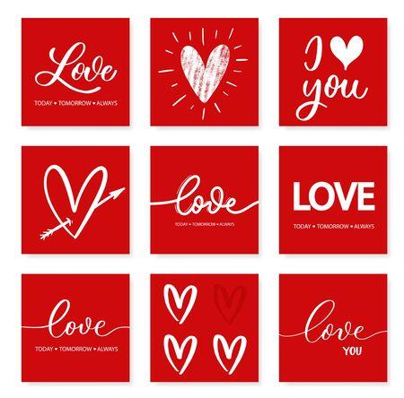 Liebe heute morgen immer - rote Kalligraphie-Inschrift. Satz von Liebeshandbeschriftungskarten.