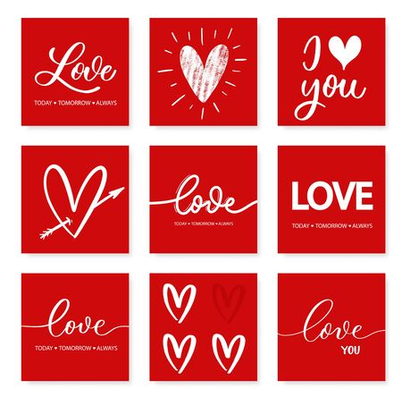 Miłość dzisiaj jutro zawsze - czerwony napis kaligrafii. Zestaw kart z napisem strony miłości.