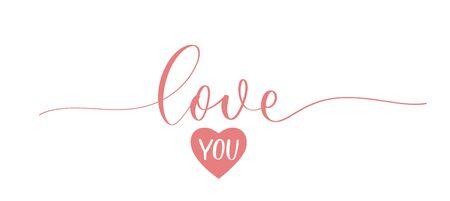 Love you. Calligraphy inscription - invitation valentines day card. Illusztráció