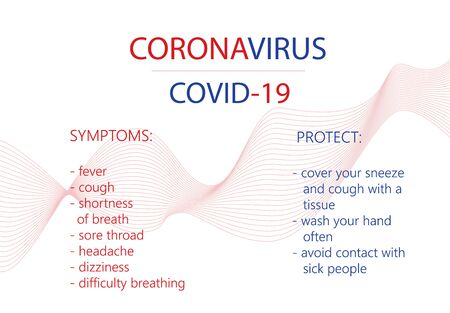 Covid-19.CoronaVirus background poster.Symptoms and protect.
