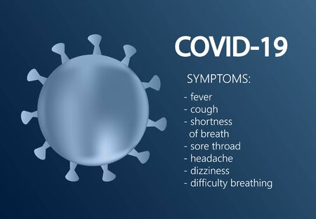 Covid-19.CoronaVirus symptoms, concept inscription typography design logo. Иллюстрация
