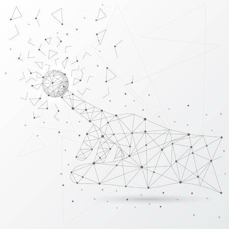 Main touchant la connexion au réseau mondial et les données des lignes, des triangles et du style low poly de particules. Vecteurs