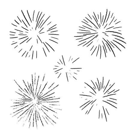 Firework explosion in night. Firecracker rocket bursting in big sparkling star balls.