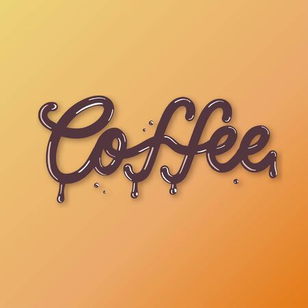 Coffee - 3d inscription hand lettering.