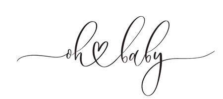 Oh baby -  typography lettering quote, brush calligraphy banner with  thin line. Vettoriali