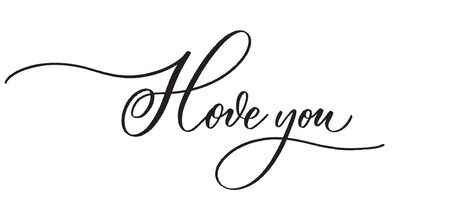 I love you -  typography lettering quote, brush calligraphy banner with  thin line.