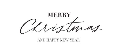 Merry Christmas -  typography lettering quote, brush calligraphy banner with  thin line.
