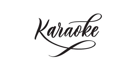 Karaoke -  typography lettering quote, brush calligraphy banner with  thin line.