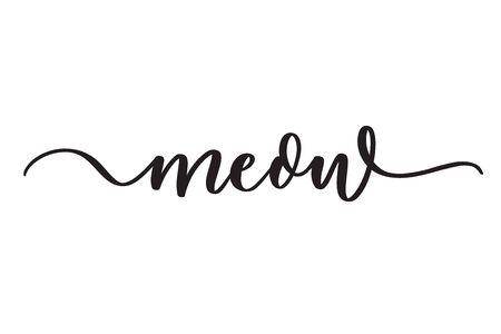 Meow. Concept inscription typography design.