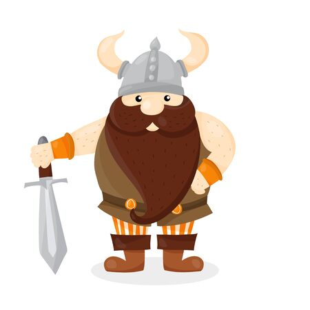 Cartoon character Viking isolated  on white background vector. Ilustração