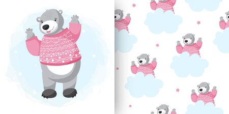 Cartoon vector grey grizzly bear, isolated on white background and seamless patern.