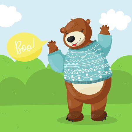 Cartoon vector brown grizzly bear.Boo Illustration