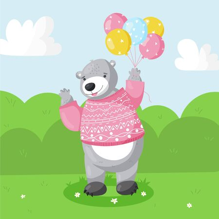 Cartoon cute  bear with balloons, for kid's or baby's t shirt design, fashion print, graphic, kids wear.
