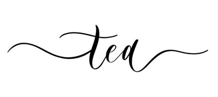 Tea - vector calligraphic inscription with smooth lines. Minimalistic hand lettering illustration. Ilustrace