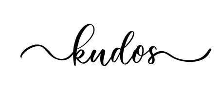 Kudos - vector calligraphic inscription with smooth lines. Иллюстрация