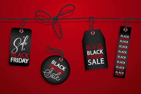 Black Friday realistic vector paper price tag. Stock Photo