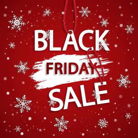 Black friday vector sale template. Grunge abstract red rough brush strokes.