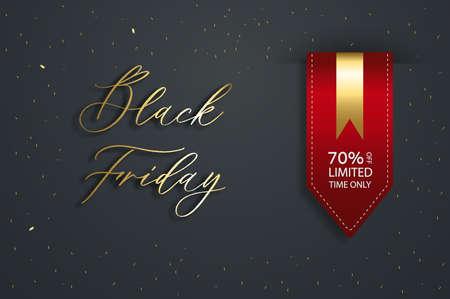 Black friday vector sale template. Satin red ribbon price tag. Illusztráció
