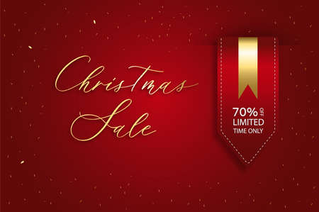 Christmas sale vector template background. Satin red ribbon price tag.