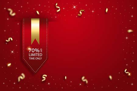 Vector sale template background. Satin red ribbon price tag. Illusztráció