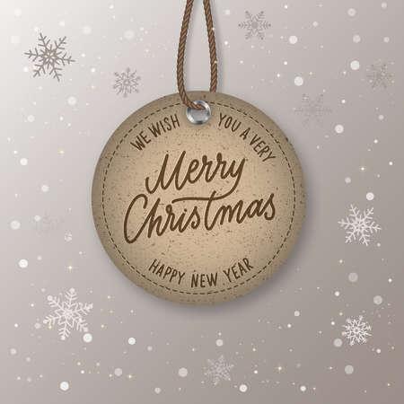 Christmas Sale realistic vector round paper price tag. Price tag labels. Illusztráció