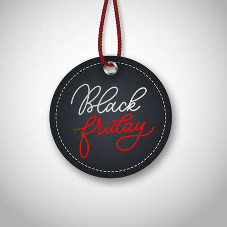 Black friday realistic vector round paper price tag. Sale price tag labels.