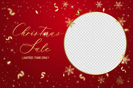 Christmas sale vector template with place for family photo. Satin gold ribbon background.