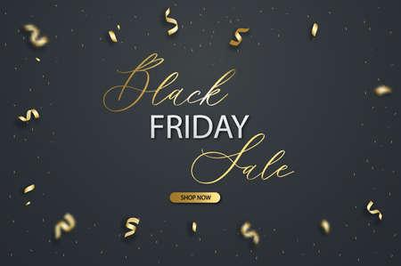 Black friday vector sale template. Gold ribbon price tag background. Illusztráció