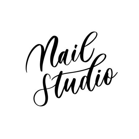 Nail studio - vector calligraphic inscription with smooth lines for the names and firms, labels and design shops, beauty salons, hairdressers and your business Vector Illustratie
