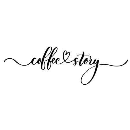 Coffee story - hand lettering inscription for product packaging and labeling Ilustração
