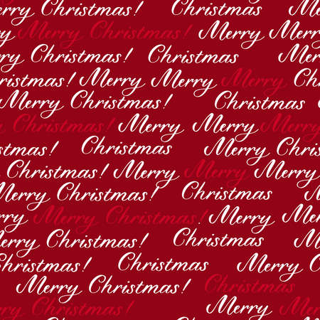 Merry Christmas seamless pattern background with calligraphy hand drawn inscription.