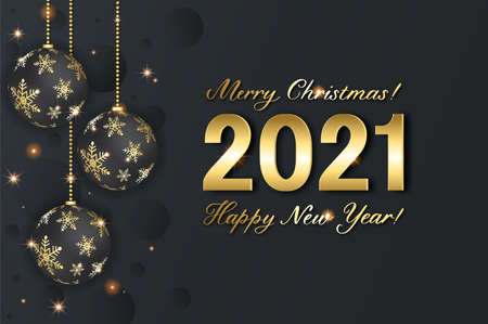 Christmas background with shining snowflake, ball and numerals 2021. Merry Christmas card illustration on black background with realistic ball. Stockfoto
