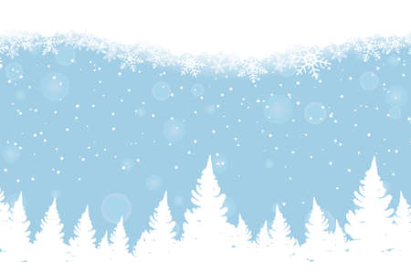 Winter blue background with christmas trees and snowflakes Ilustración de vector