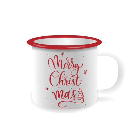 Vector iron mug, mock up for design cup. Merry Christmas - hand lettering inscription. Ilustracja