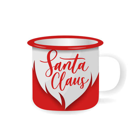 Vector iron mug, mock up for design cup. Santa Claus - hand lettering inscription with beard.